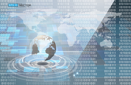 Binary code and world map
