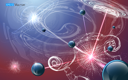 Vector illustration including physical micro-particle explosion. Sphere elements on glowing multicolored background. Used a clipping and opacity masks. Illustration
