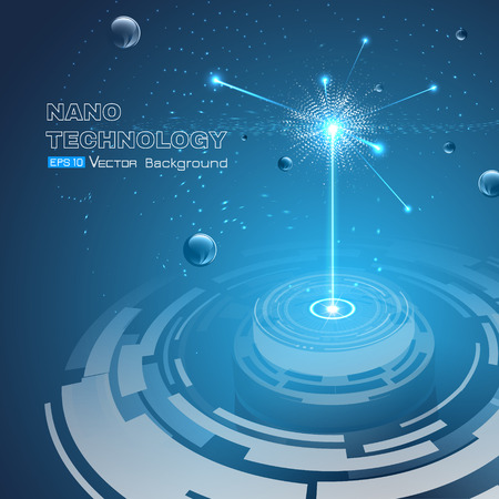 Vector illustration including physical micro-particle explosion. Sphere elements on glowing blue background. Used a clipping and opacity masks.