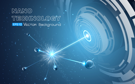 Vector illustration including physical microparticle explosion. Sphers elements on glowing blue background. Used a clipping and opacity masks.