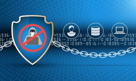 Security shield with stop hacker simbol and chain. Protection of computer and personal data. The picture includes numbers, hexagons, glow, dark background. A clipping mask was used. Illustration