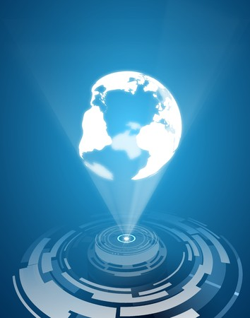Hologram globe vector background. Vector eps10. Futuristic background. Used a clipping mask.