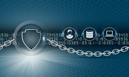 Security shield Protection of computer and personal data. The picture includes numbers, hexagons, glow, dark background. A clipping mask was used.