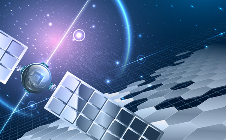 Abstract universe theme. Including Satellite ,stars, hexagon segments, space with violet glow, solar panels. Used a clipping mask.