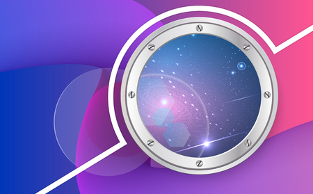 View from spaceship. Cartoon illustration of flight window, stars, Outer space. Vector porthole. Used clipping mask. Illustration