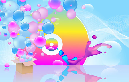 Abstract colorful background . Including box and multicolored disk and sphers. Party theme. used clipping mask.