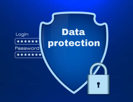Security shield. Protection of computer and personal data. The picture includes dark background. A clipping mask was used.