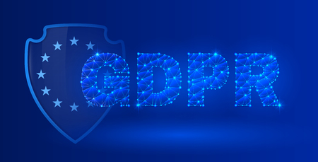 General data protection regulation theme. The picture includes dark blue background. A clipping mask was used and layers.