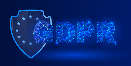 General data protection regulation theme. The picture includes glowing text on dark blue background. A clipping mask was used and layers.