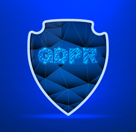 General data protection regulation theme. The picture includes stars, Stylized Shield and dark blue background. A clipping mask was used and layers.