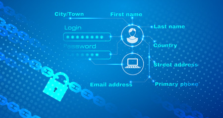Data protection theme abstract image. Including chain, lock and personal login bright text. Used clipping mask.
