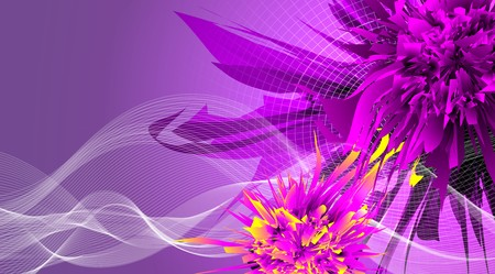 Abstract bright futuristic multicolored background.Including fantasy flower and wave .Can be used for party event banners. Used clipping mask.