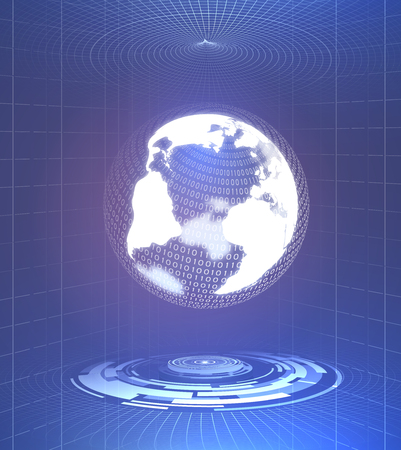 Abstract technology background. Including futuristic cyber interface and earth globe.Used a clipping mask.