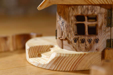 dollhouse: Wooden hand made hut with window
