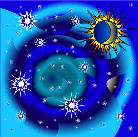 power projection: in this patern space ,Moon and Stars. Illustration