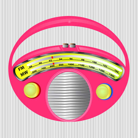 fm radio: round pink fm mw radio