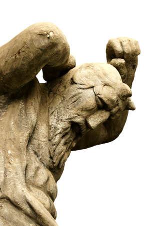 bärtiger mann: Potsdam Babelsberg, Brandenburg  Deutschland - 11. August 2012: Die Statue eines b�rtigen Mannes (Gottheit, D�mon, Teufel) an der Babelsberg Film Park von einem unbekannten K�nstler 11. August 2012.