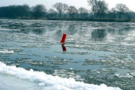 ice floes: Floes on the river Elbe in the winter  Stock Photo