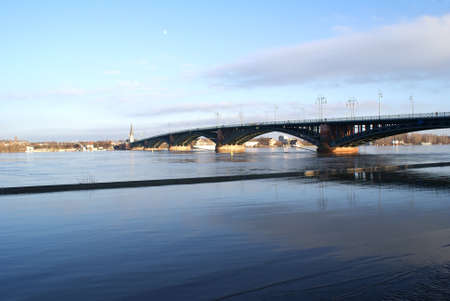 The photograph of the Theodor Heuss bridge in Mainz on the Rhine  Banco de Imagens