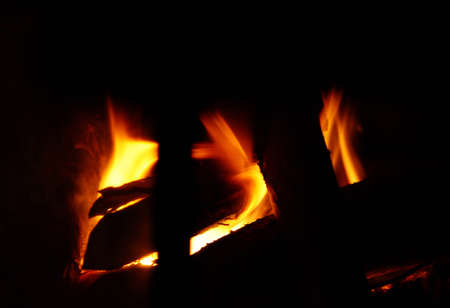 close up chimney: The close-up photography of burning wood in a chimney                    Stock Photo