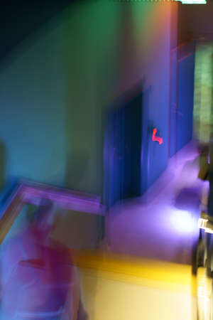 stair way illuminated with neon lights                  photo