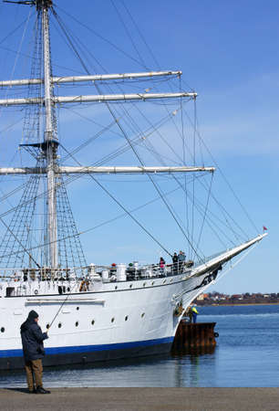 Stralsund, Mecklenburg Western Pomerania  Germany � April 06: The Gorch fock on April 06, 2013 in the harbor of Stralsund. The Gorch foresail is a sail school ship of the German navy.