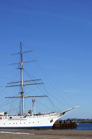 Stralsund, Mecklenburg Western Pomerania  Germany � April 06: The Gorch Fock on the April 06, 2013 in the harbor of Stralsund. The Gorch Fock is a sail school ship of the German navy.
