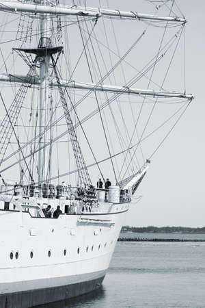 STRALSUND, MECKLENBURG WESTERN POMERANIA  GERMANY � APRIL 06: The Gorch Fock on April 06, 2013 in the harbor of Stralsund. The Gorch fockl is a sail school ship of the German navy.
