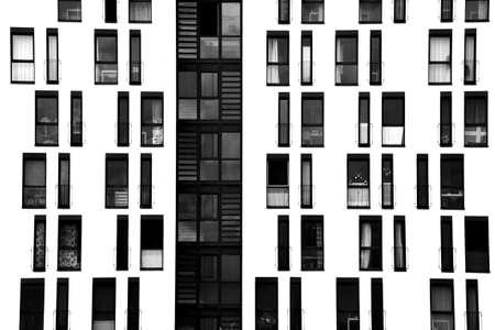 The photograph of a facade with symmetrically arranged windows