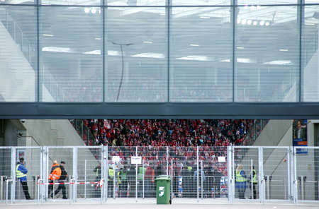 Mainz, Rhineland Palatinate  Germany - May 11, 2013: The facade of the �co face arena� of first the german national league member 1.FC Mainz during a soccer match on May 11, 2013 in Mainz.