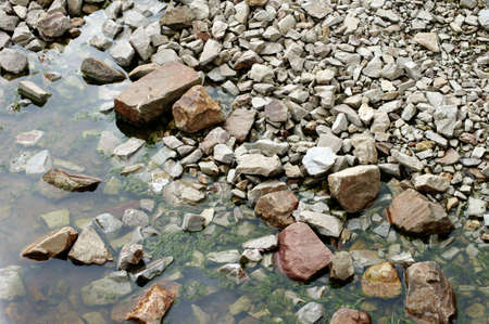 riverbed: The photograph of a drainage bed with boulders