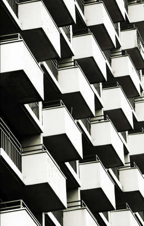 The close-up of symmetrically arranged balconies                 Stock Photo