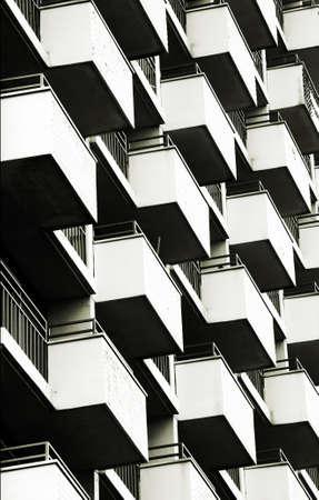 The close-up of symmetrically arranged balconies                 版權商用圖片