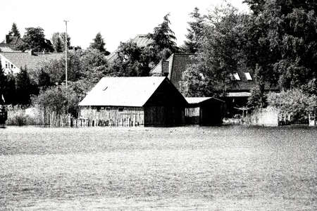 graining: The photograph of a boat shed at the lake M�ritz