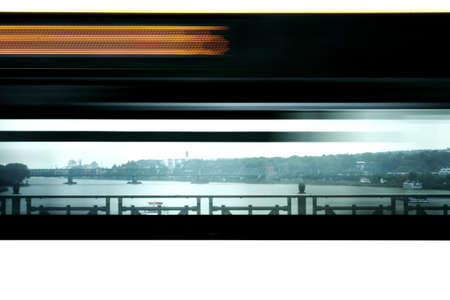 theodor: Motion strip of a passing bus on the Theodor Heuss Bridge in Mainz