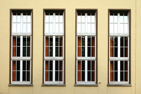 upright row: The photograph of four upright windows in a row
