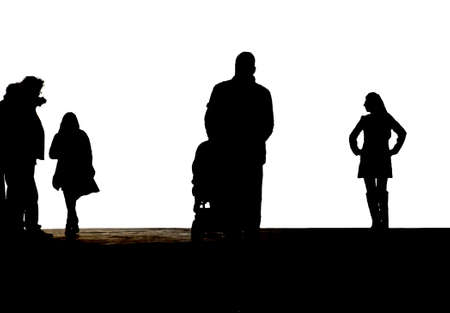 The Photography of silhouettes of two women, a man with a pram and a photographer                      Stock Photo