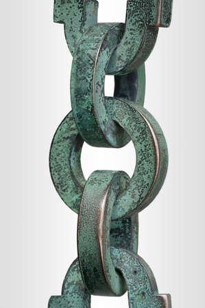 verdigris: The photograph of an chain with individual links     Stock Photo