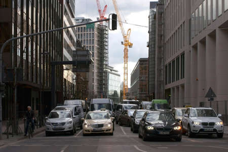 Frankfurt, Germany - February 19, 2014  Standing road due to the traffic lights in the banking district of Frankfurt on February 19, 2014 in Frankfurt