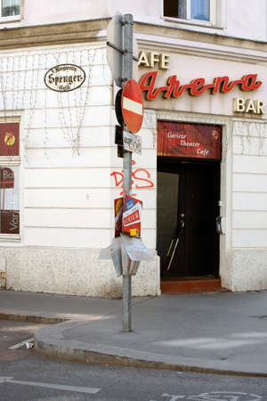 Vienna, Austria - March 30, 2014  The entrance to the variety theater cafes Arena in Spengergasse on March 30 2014 in Vienna