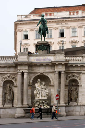 art museum: Vienna, Austria - March 31, 2014  Tourists are under the equestrian statue of Albert in front of the Albertina Art Museum on March 31, 2014 in Vienna                    Editorial
