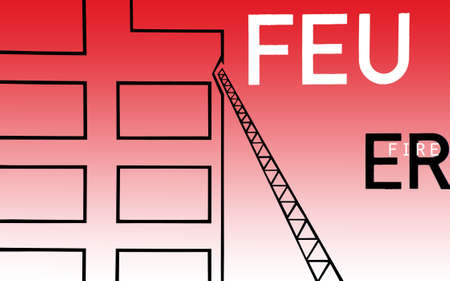 multistorey: The illustration of a multi-storey building in which a fire escape leaning on it