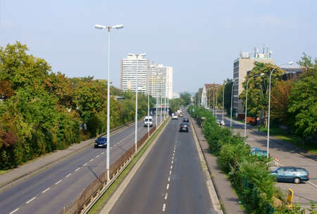 saar: Mainz, Germany - September 5, 2014: The Saar road, a highway with car traffic and adjacent high-rise buildings on September 05, 2014 in Mainz.