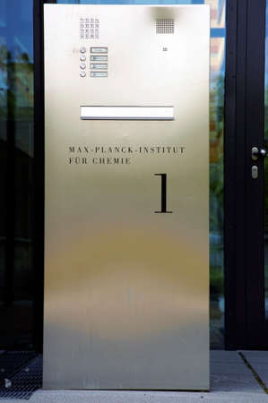 planck: Mainz, Germany - September 05, 2014: The entrance sign of the Max Planck Institute for Chemistry at the grounds of the Johannes Gutenberg University in Mainz on September 05, 2014 in Mainz.