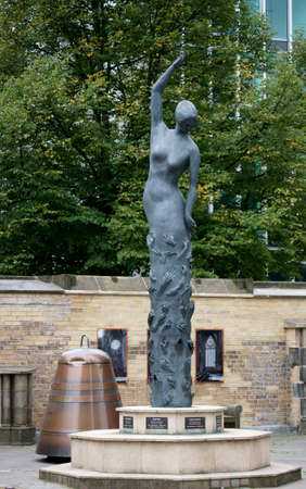 edith: Hamburg, Germany - September 22, 2014: The Earth Angel sculpture by the artist Edith Breckwoldt at the Memorial of St. Nikolai church on September 22, 2014 in Hamburg.