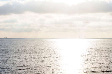ijssel: The sea, Lake IJssel,  at Volendam in the Netherlands in backlit.