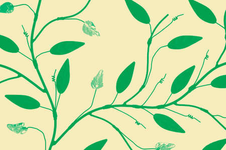 twigs: Illustration of a climbing vine with branches twigs and leaves. Stock Photo