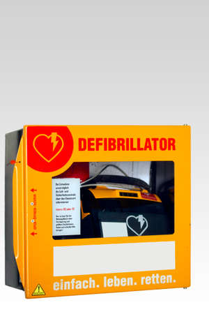 A survival box with a defibrillator. photo