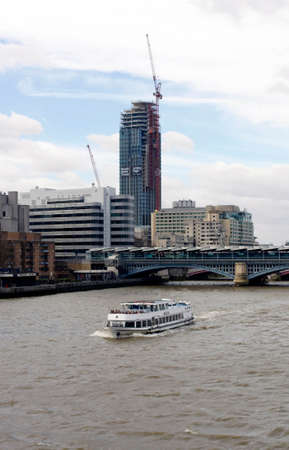 southwark: London Great Britain 31 Mar 2015: The construction of the South Bank Tower in London39s Southwark district along the River Thames on 31 Mar 2015 in London.