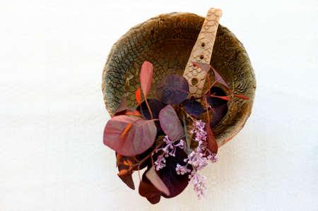 singing bowl: La pianta e la vita ancora di una ciotola di canto con un bouquet accordo asciutta.